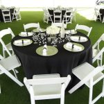white chairs and black table cloth
